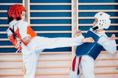 Taekwondo children sparring