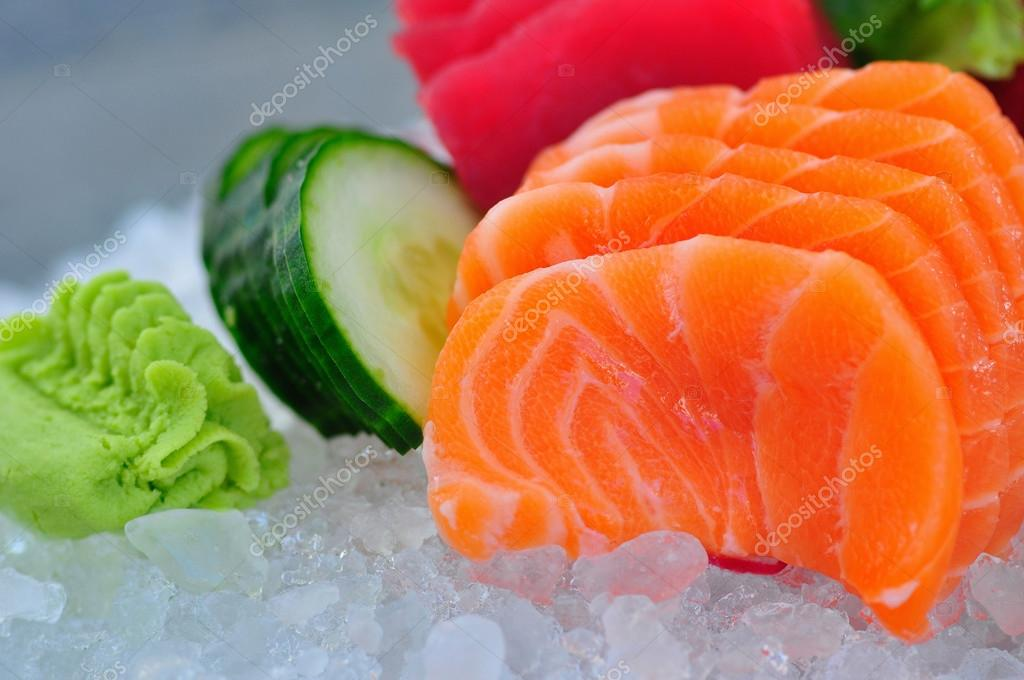 Salmon sashimi on ice
