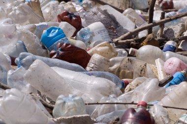 Plastic bottles at dump