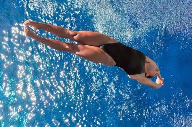 dalgıç su yüzeyine doğru uçan