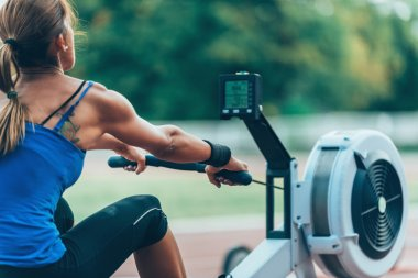 woman during Rowing machine workout