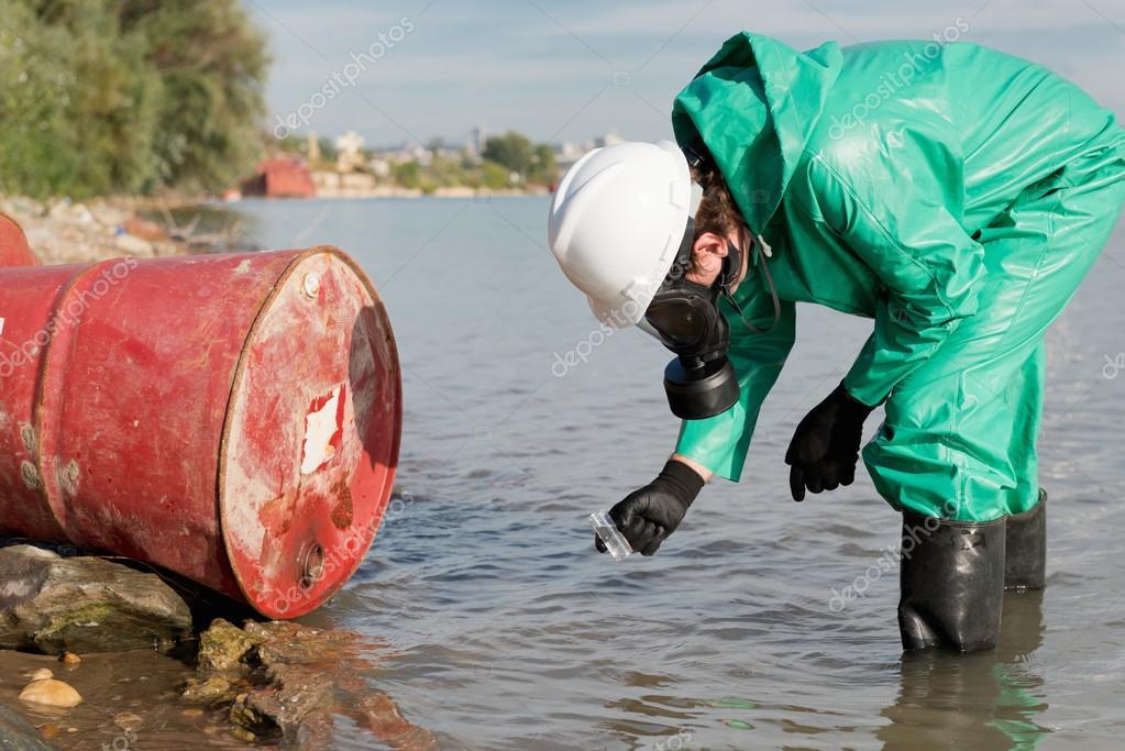 Environmentalist taking sample