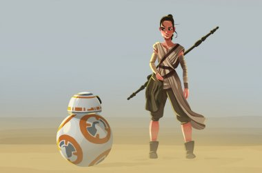 Rey and BB8 from Star Wars