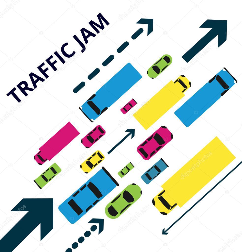 Traffic Jam Alot Of Cars Trucks And Arrows Vector Illustration