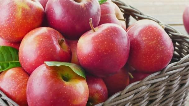 pile of fresh apples in wicker box