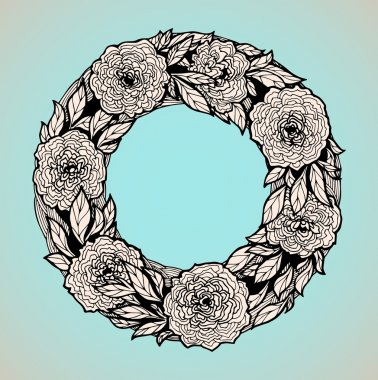 Wreath of flowers in pastel tones