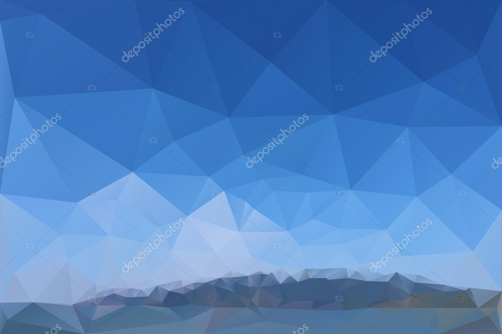 Mountains, sea, sky. Triangle background