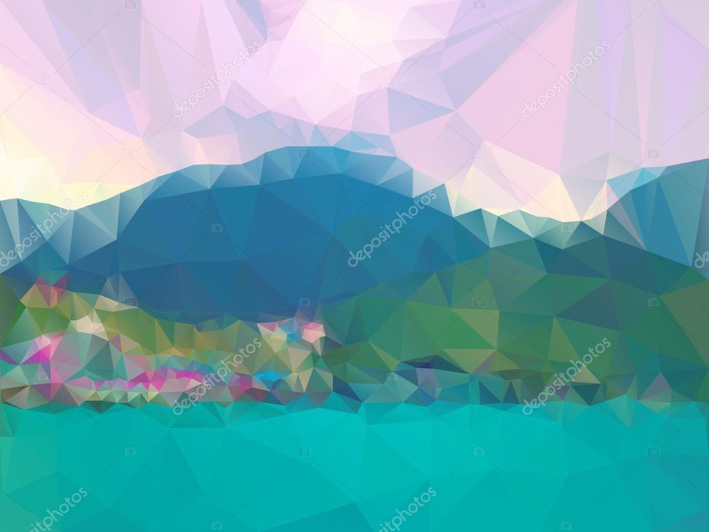 Mountains, sea, sky. Triangle background