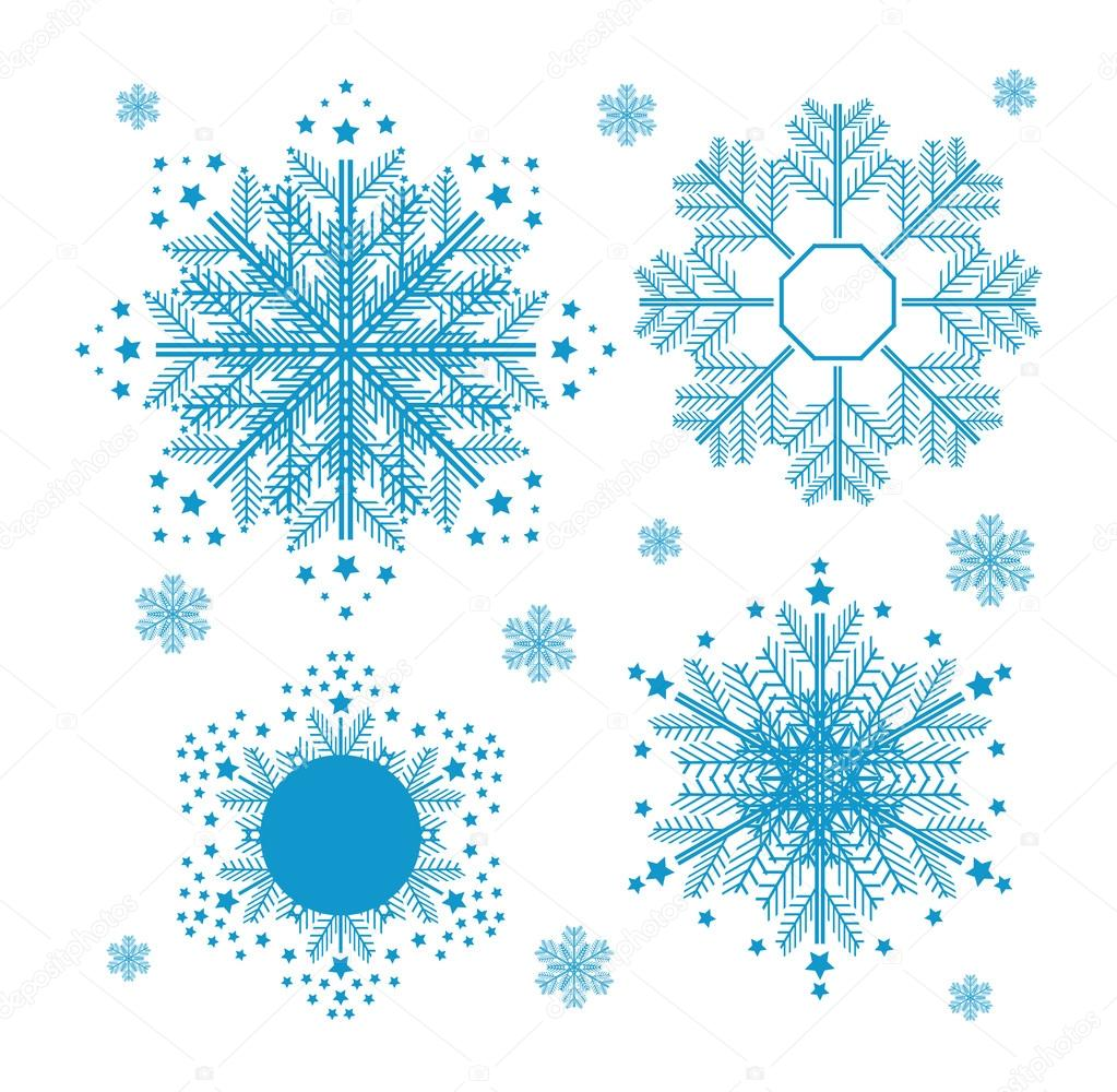 Christmas set with snowflakes.