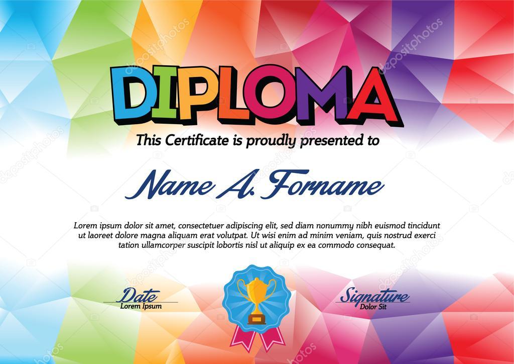 Plantilla de certificado de diploma con el marco de la colores para ...