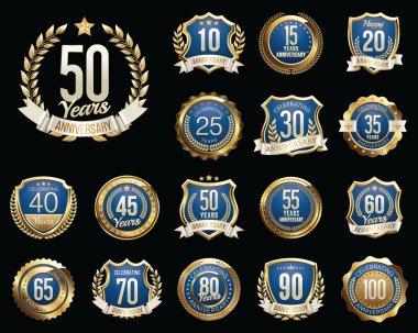 Set of Golden Anniversary Badges. Set of Golden Anniversary Signs.