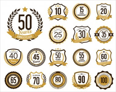 Set of Golden Anniversary Badges. Set of Golden Anniversary Signs. Vintage. Gold and Brown.