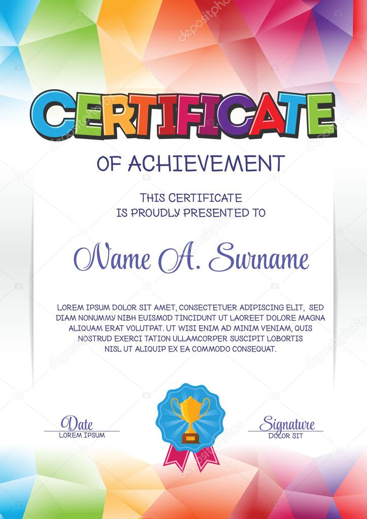 Certificate Template With Colorful Frame For Children Portrait