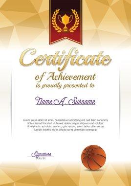 Certificate of Achievement. Basketball Certificate. Portrait.
