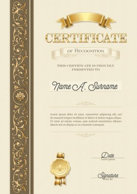 Certificate of Recognition. Vintage Frame. Portrait.