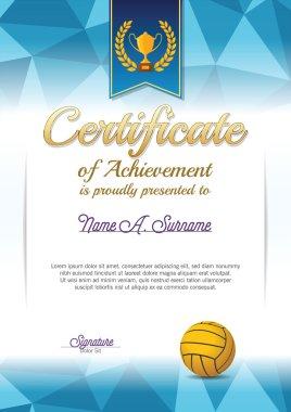 Certificate of Achievement. Water polo Certificate . Portrait.