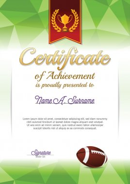 Certificate of Achievement. American Football Certificate. Portrait.
