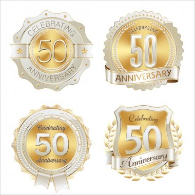 Gold and White Anniversary Badge 50th Years Celebrating