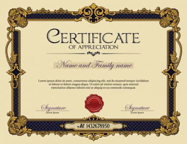 Antique Vintage Ornament Frame Certificate of Appreciation.