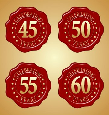 Anniversary Badges Gold on Red Wax Seal 45th, 50th, 55th, 60th Year's Celebration