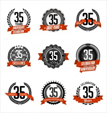 Vintage Anniversary Badges Black and Red 35th Year's Celebration