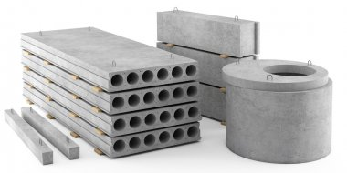 Reinforced concrete items on white background