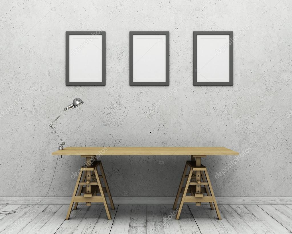 Muro de hormigón, piso de madera, mesa, escritorio lámpara y foto ...