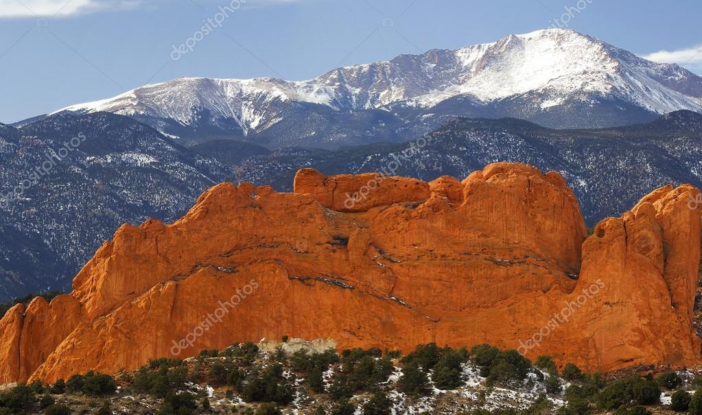 Pike's Peak from the Garden of the Gods neaar Colorado Springs,