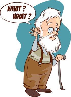 illustration of deaf problem, hearing loss, aging.Vector art, fl