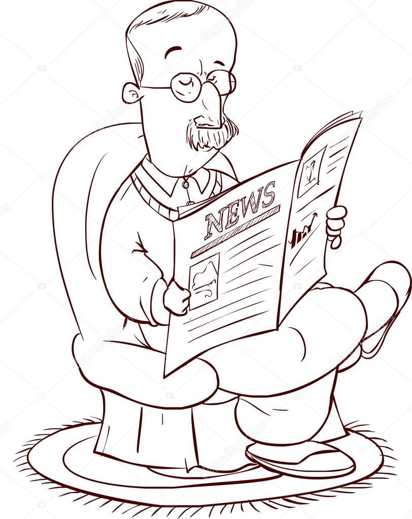 Vector Illustratie Van Een De Man Krant Lezen Stockvector