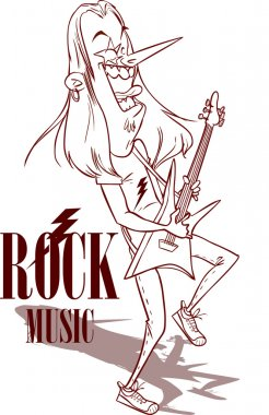 Rock Star With Electric Guitar illustration