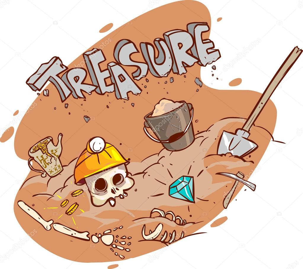 Old treasure chest buried under ground, vector illustration