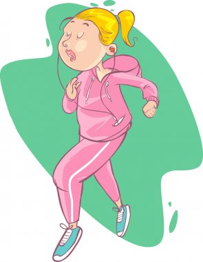 illustration of a beautiful cartoon girl jogging