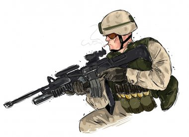 Vector illustration of a soldier with rifle stock vector