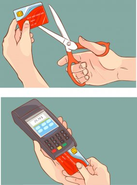 Cutting up credit card with scissors and hand pushing credit card into the pos terminal