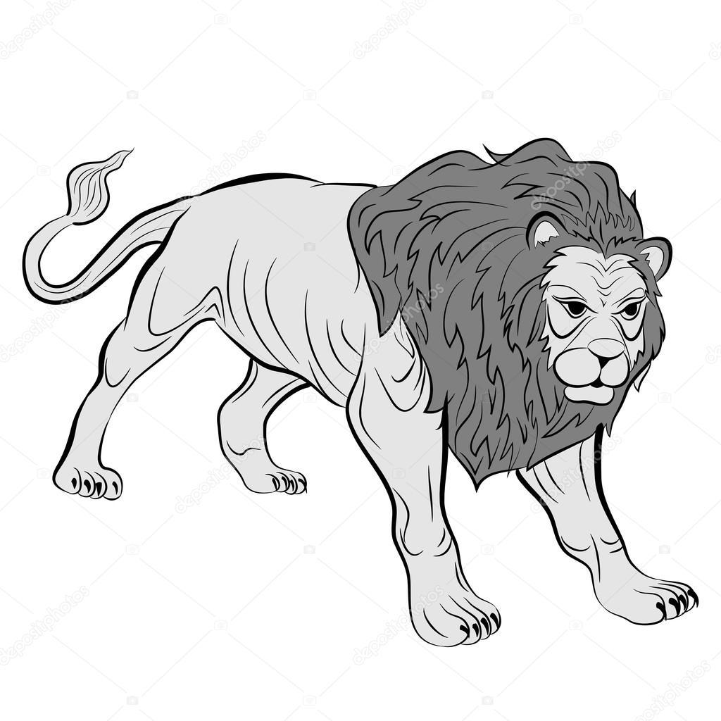 Adult Male Lion Realistic Stock Vector Struckbarwgmail