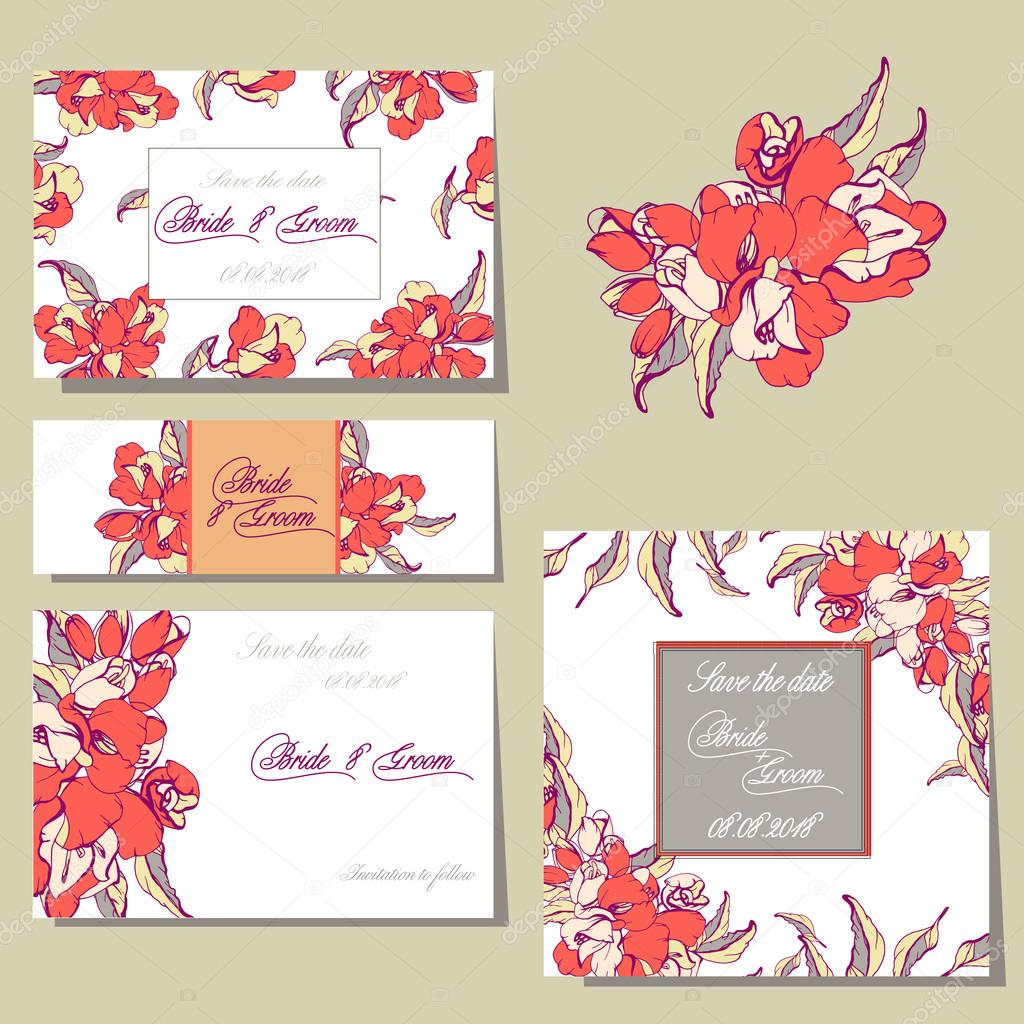 Wedding invitation card suite with flower vetor de stock wedding invitation card suite with flower vetor de stock stopboris Images