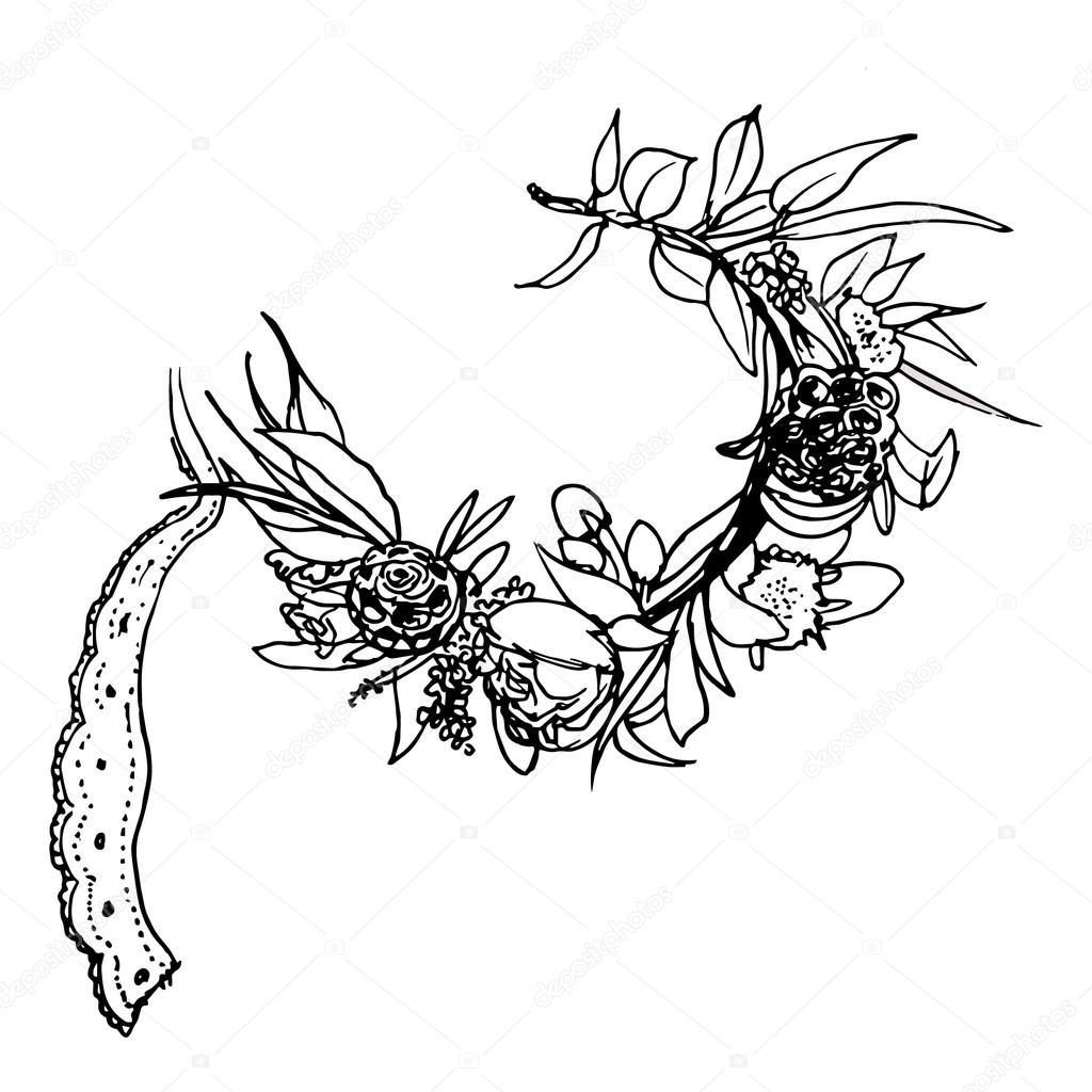 Vintage flowers wreath floral elements. Vector design