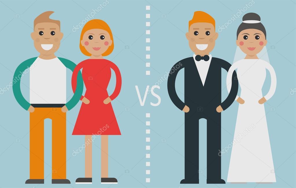 Matrimonio De Convivencia : Matrimonio tradicional de convivencia vs — vector stock