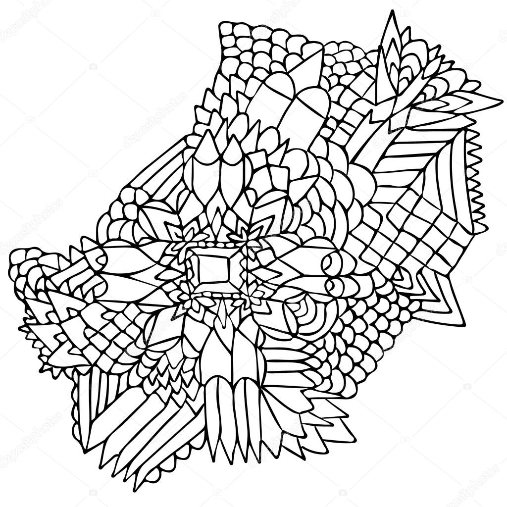 ZENTANGLE ELEMENTS FIGURE SIMPLE BLACK WHITE 2 — Stock Vector