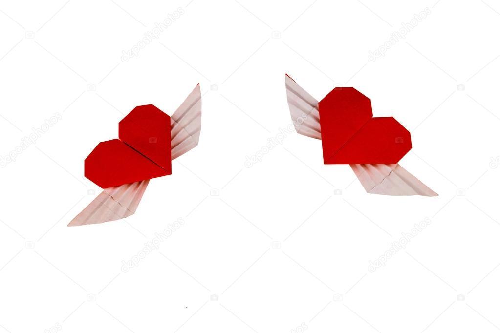 Origami de corazón con alas. Dos corazones — Foto de stock © 4-s.ukr ...