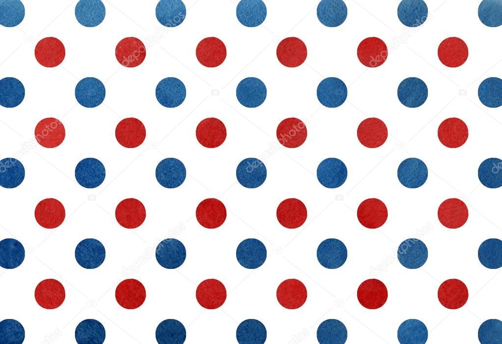 水彩の濃い青と赤のドット背景 — ストック写真