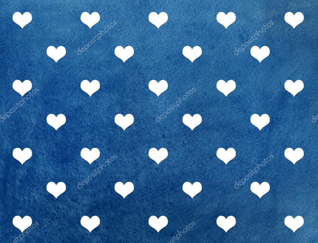 White Hearts On Dark Blue Watercolor Background Stock Photo