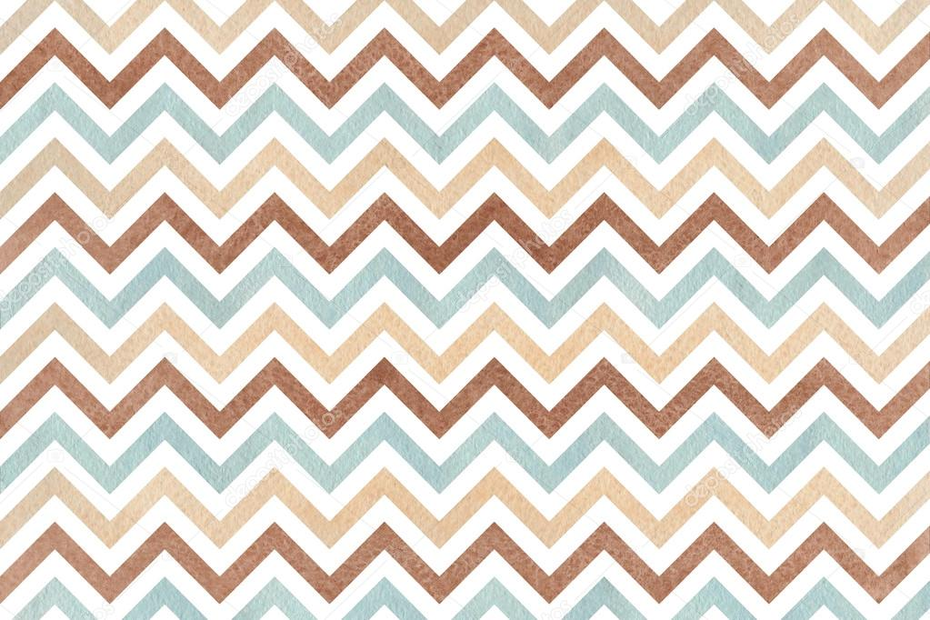 Watercolor brown, beige and blue stripes background, chevron ...