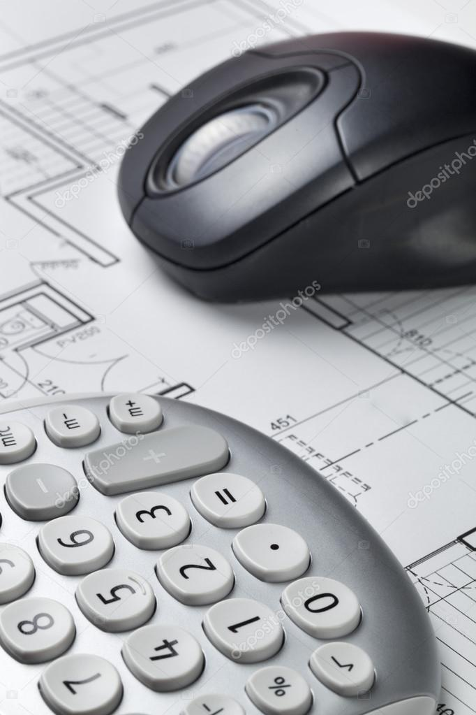 Cost efficiency and computer for architect work with blueprint cost efficiency and computer for architect work with blueprint stock photo malvernweather Images