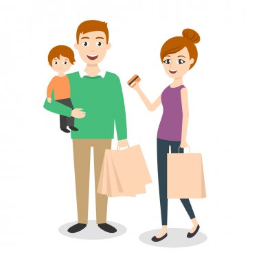 Vector illustration of family: mom, dad and son. Shopping bags. Family shopping with credit card.
