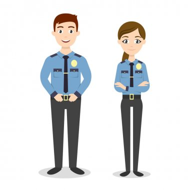 Characters: two young happy police officers, man and woman.