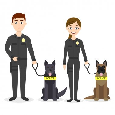 Vector characters: two young police officers man and woman