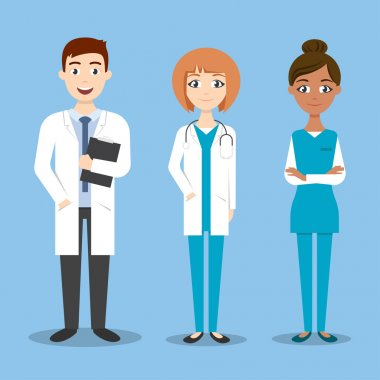 Vector characters: doctor and nurse, medical colleagues.
