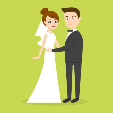 Vector characters: just married couple man and woman.
